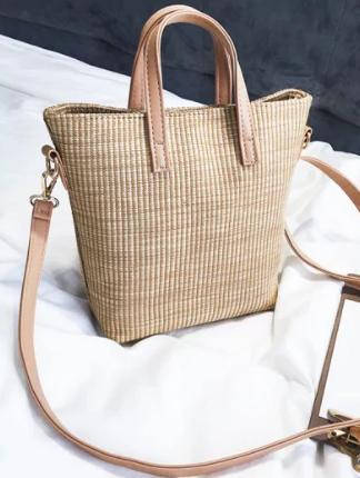 Travel Vacation Leisure Straw Tote Bag - Light Khaki