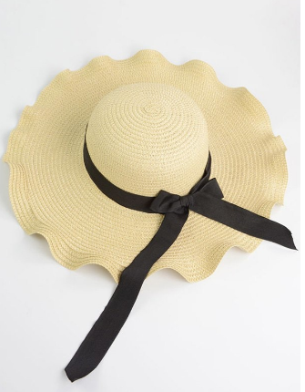 Wave Shape Bow Knot Straw Hat - Off-white