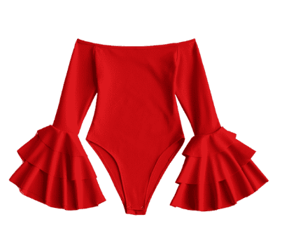 Zaful Bell Sleeve Off Shoulder Bodysuit - Red M